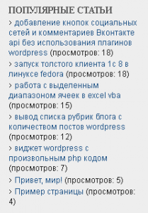 Список популярных статей